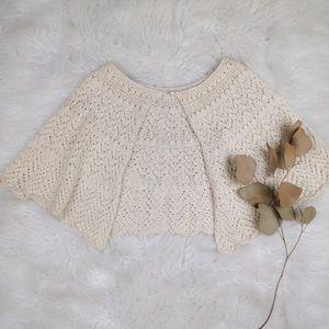Vintage homemade crochet knit Ivory shawl